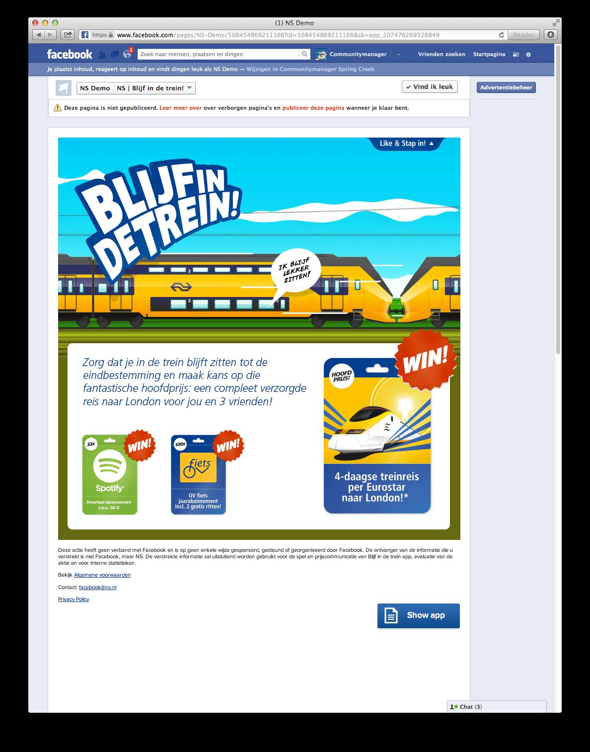 Facebook campagne Blijf in de trein voor ex-studenten - visual 1